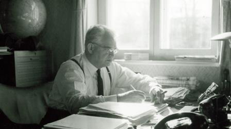 Mads Clausen in his office, 1960